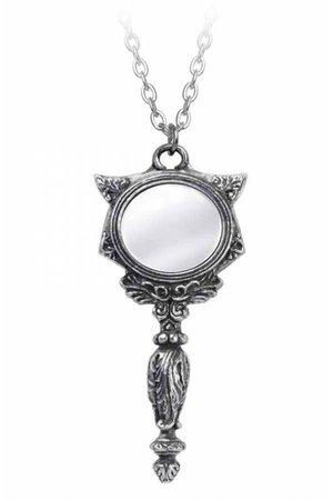 Cat Vanitas Mirror Pendant Necklace by Alchemy Gothic
