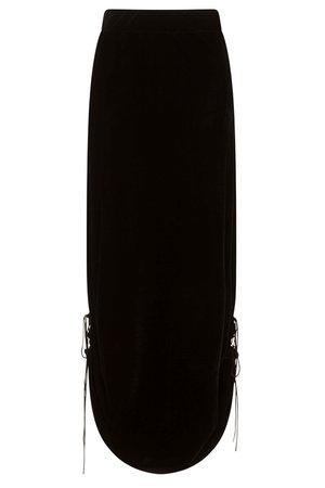 Aura Black Velvet Gothic Maxi Skirt by Necessary Evil