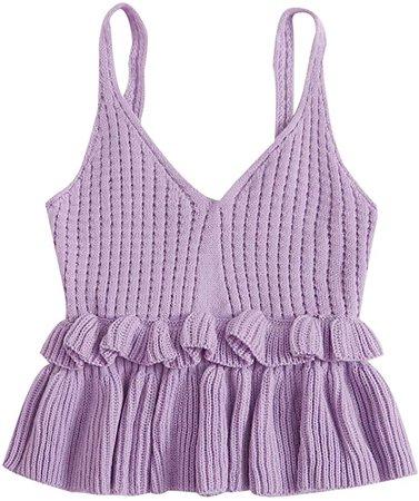 SweatyRocks Women's Casual Knit Top Sleeveless Ruffle Hem V Neck Peplum Crop Tank Top at Amazon Women's Clothing store