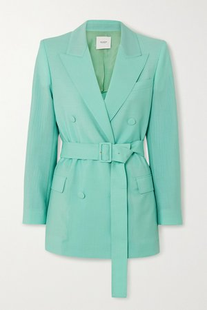 Turquoise Belted double-breasted mohair and wool-blend blazer   Agnona   NET-A-PORTER