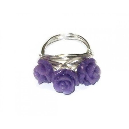 Purple Three Flower Ring by AngieShel Designs