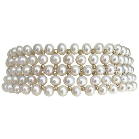 Marina J. Bridal Woven White Pearl Choker , Silver Gold Plated Beads and clasp For Sale at 1stdibs