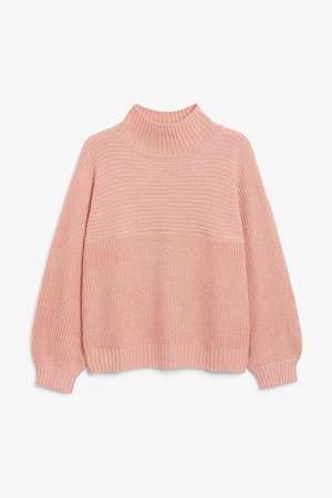 Vertical knit sweater - Pink - Jumpers - Monki WW