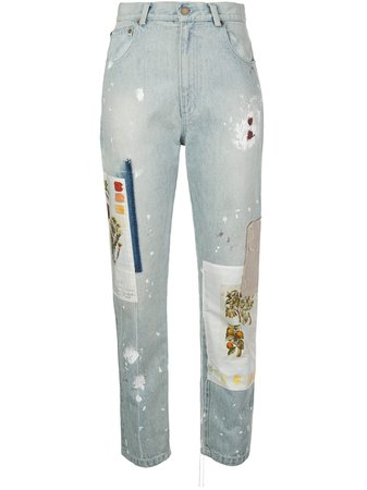 Monse Batnical patchwork straight-leg jeans blue