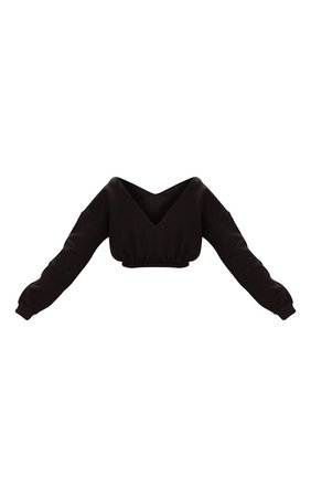 Black Crop Off Shoulder Sweater | PrettyLittleThing USA