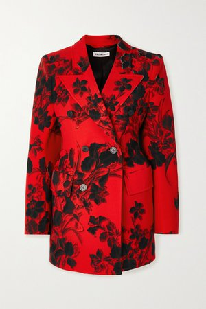 Red Hourglass floral-print wool-crepe blazer   Balenciaga   NET-A-PORTER