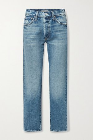 Hiker Hover Distressed High-rise Straight-leg Jeans - Mid denim
