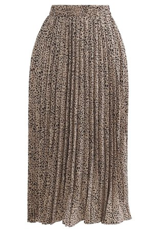 Animal Print Pleated Midi Skirt in Tan - Retro, Indie and Unique Fashion