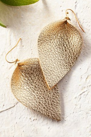 Leather Leaf Earrings - Gold Leaf Earrings | Soft Surroundings