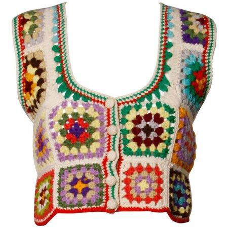 1970s Adolfo Neiman Marcus Vintage Wool Granny Squares Crochet Vest/ Sweater Top at 1stdibs