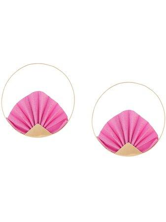 Katerina Makriyianni 24kt gold-plated brass hoop earrings pink & gold K10E2YBS - Farfetch