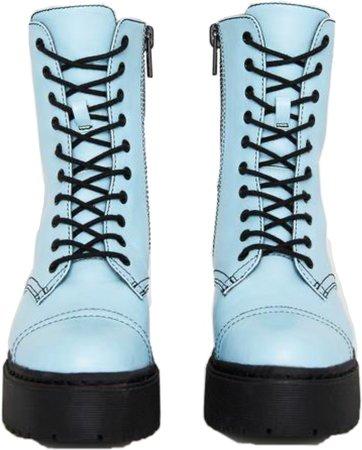 light blue combat boots