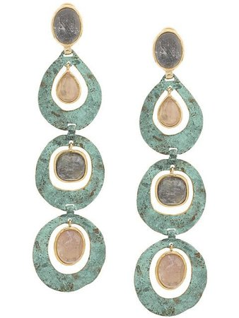 Goossens Long Verre de Mer Earrings