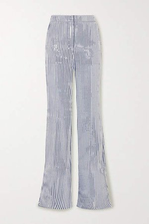 Farida Metallic Striped Canvas Bootcut Pants - Silver