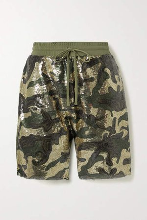 Sequined Tulle And Cotton-jersey Shorts - Army green