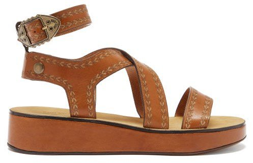 Nuriee Leather Flatform Sandals - Tan