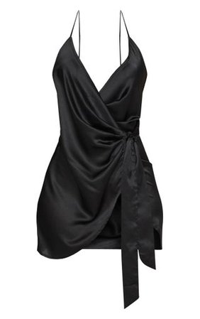 Black Satin Halterneck Wrap Bodycon Dress | PrettyLittleThing