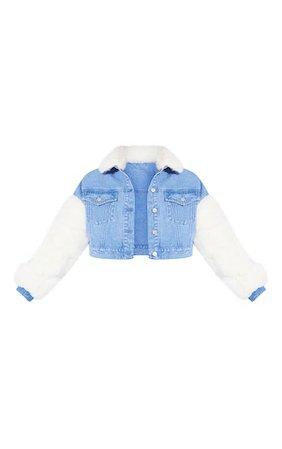 Light Wash Fur Sleeved Denim Jacket   Denim   PrettyLittleThing USA