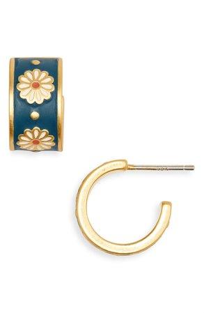 Madewell Daisy Delight Enamel Small Hoop Earrings | Nordstrom