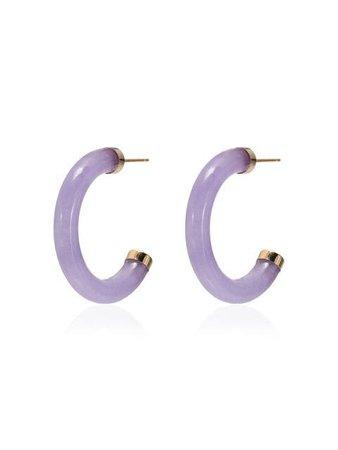 Loren Stewart Purple jade hoop earrings