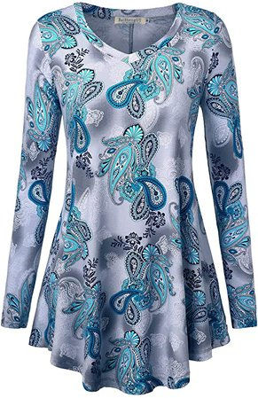 BAISHENGGT Women's Long Sleeve Loose Flared Tunic Top XL Scuba Blue Paisley at Amazon Women's Clothing store