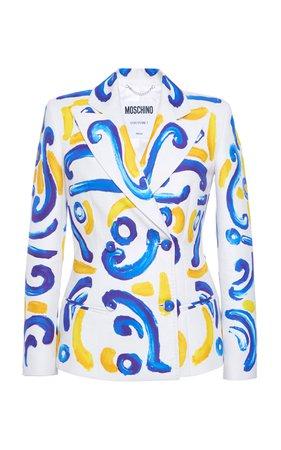 Printed Double-Breasted Cotton Blazer by Moschino | Moda Operandi