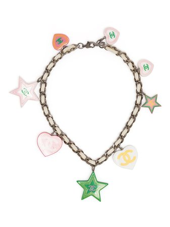 Chanel Pre-Owned Logo Heart Charms Necklace - Farfetch