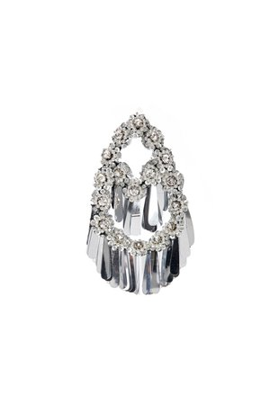 FLOWER EMBROIDERED SILVER EARRINGS WITH MIRROR FRINGES   RAISA & VANESSA