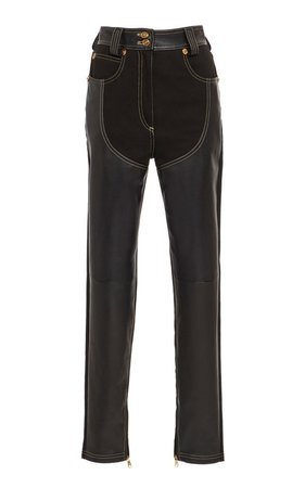 Leather Paneled Pants by Versace | Moda Operandi