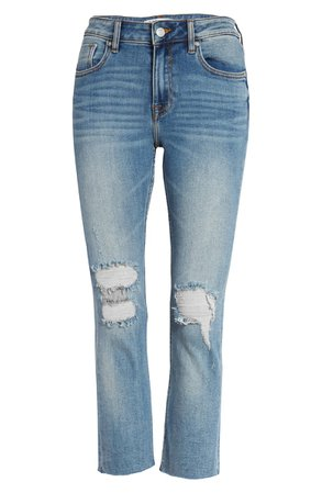 Vigoss Stevie Ripped Raw Hem Crop Straight Leg Jeans | blue
