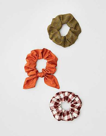 AEO Dotted + Rust Scrunchies 3-Pack green orange