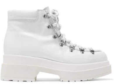 Lace-up Leather Ankle Boots - White