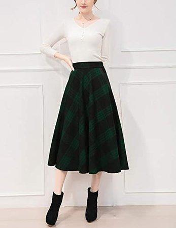 Winter Warm Wool Blend Plaid Skirt