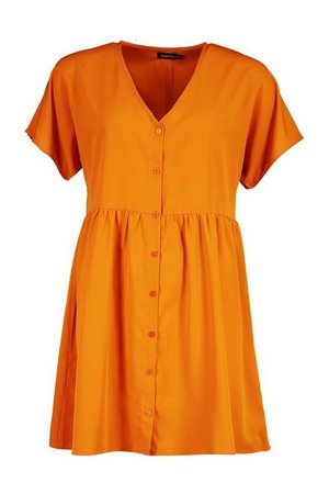 Woven Button Through Smock Dress | boohoo orange