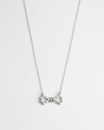 Swarovski® medium pearl bow pendant - Silver Colour | Jewellery | Ted Baker UK