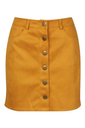 Suedette Button Front A Line Mini Skirt   Boohoo yellow