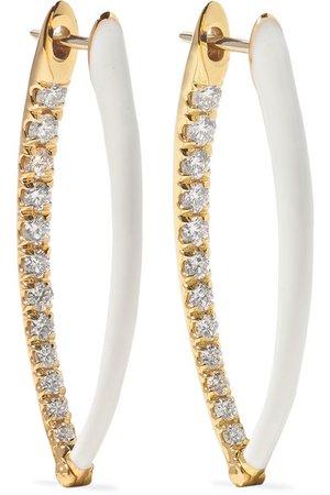 Melissa Kaye | Boucles d'oreilles en or 18 carats, émail et diamants Cristina medium | NET-A-PORTER.COM