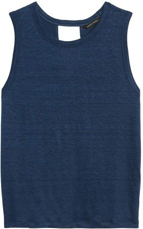 Petite Linen Twist-Back Cropped Tank