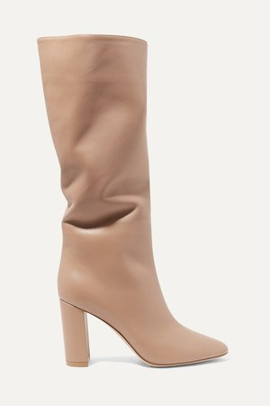 Taupe Laura 85 leather knee boots | Gianvito Rossi | NET-A-PORTER