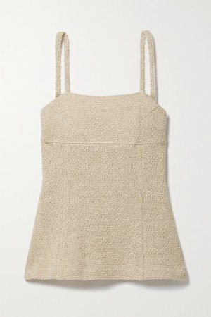 Linen And Cotton-blend Camisole - Beige
