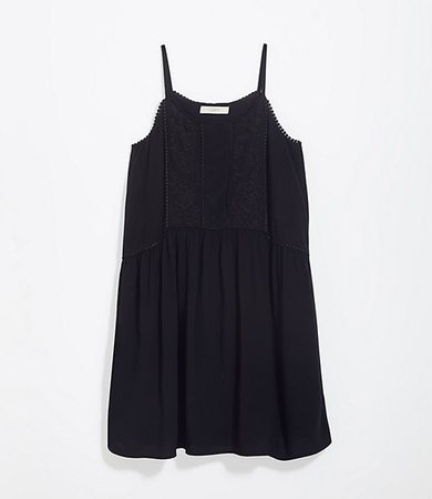 Lacy Embroidered Strappy Swing Dress