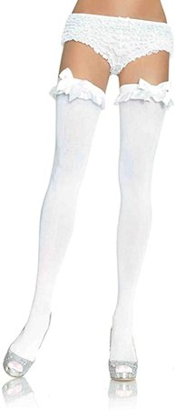 Amazon.com: Leg Avenue Women's Satin Ruffle Trim and Bow Thigh Highs, White, One Size: Leg Avenue: Clothing