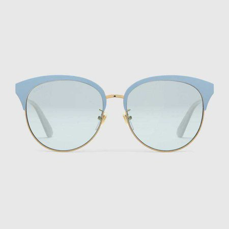 Specialized fit round-frame metal sunglasses - Gucci Women's Cat Eye 504319I03308804