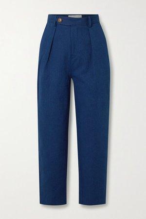 Pleated Denim Straight-leg Pants - Mid denim