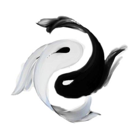 Pisces Yin Yang Fish Black White