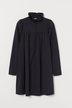 Ruffled-collar Dress - Black