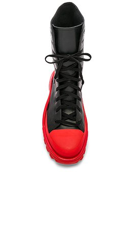 adidas by Raf Simons Detroit Hi-Top Sneaker in Black & Red | REVOLVE