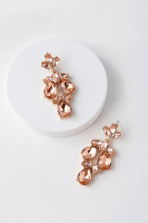 Rose Gold and Pink Earrings - Rhinestone Earrings