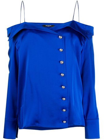Shop blue Balmain off-shoulder silk blouse with Express Delivery - Farfetch