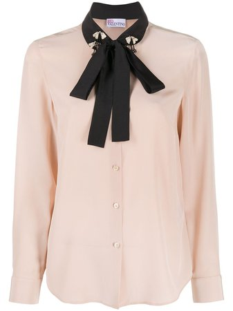 ShopRedValentino embellished pussybow blouse with Express Delivery - Farfetch